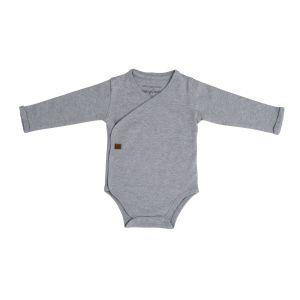 Baby Body langen Ärmeln Melange grau - 50