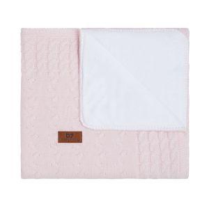 Gitterbettdecke teddyfutter Cable klassisch rosa