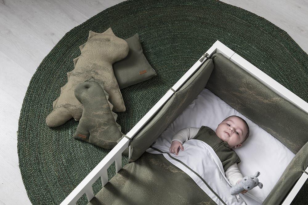 gitterbettdecke teddyfutter marble khakiolive