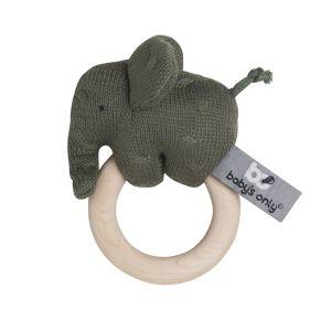 Holz Rassel Elefant khaki