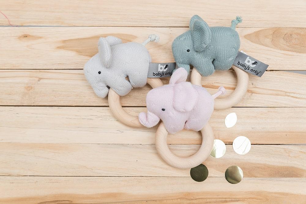 holz rassel elefant klassisch rosa