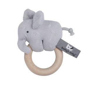 Holz Rassel Elefant silbergrau