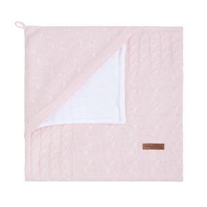 Kapuzendecke Nickistoff Cable klassisch rosa