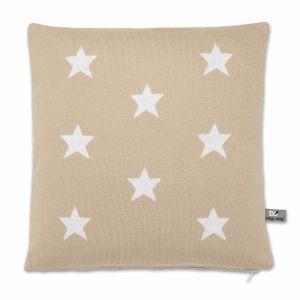 Kissen Star beige/weiß - 40x40
