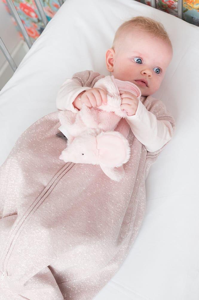 schlafsack teddyfutter sparkle silberrosa melee 70 cm