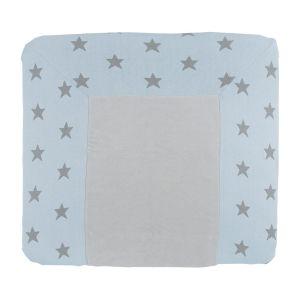 Wickelauflagenbezug Star baby blau/grau - 75x85