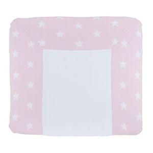 Wickelauflagenbezug Star baby rosa/weiß - 75x85